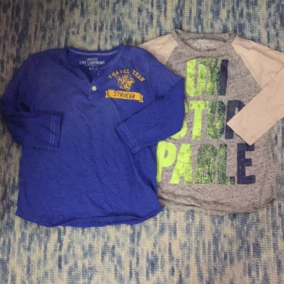 2 J. Crew 3/4 sleeve printed boy tees 6/7 EUC